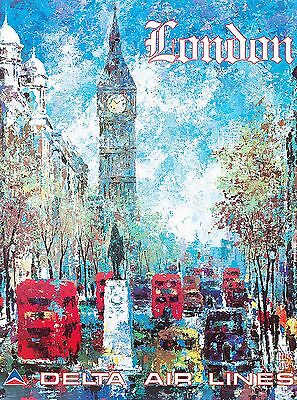 London England Big Ben Europe European Vintage Travel Advertisement Art Poster