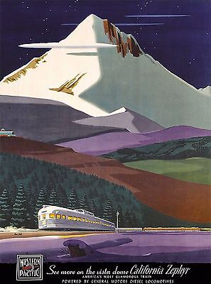 California Zephyr Railroad United States  Travel Poster Advertisement Art Print