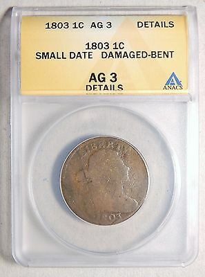 1803 Large Cent -- ANACS AG 3 Details/ Damaged (Bent)