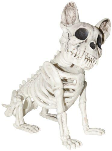 "Dog Sitting Skeleton 9.5"" Figurine Creepy Halloween Decor New"