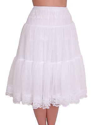 TEA LENGTH PRAIRIE MID-CALF FULL PETTICOAT SLIP SOFT CHIFFON & LACE ADJUSTABLE](Mid Length Petticoat)