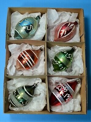 CHRISTMAS VINTAGE MERCURY GLASS BAUBLES SET 6 MICA GLITTER TRIM TEARDROP CB53
