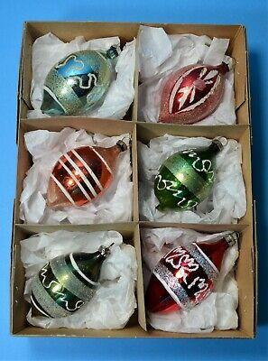 CHRISTMAS VINTAGE MERCURY GLASS BAUBLES SET 6 MICA GLITTER TRIM TEARDROP CB53