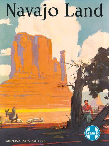 Navajo Land Santa Fe Arizona New Mexico America Travel Advertisement Poster