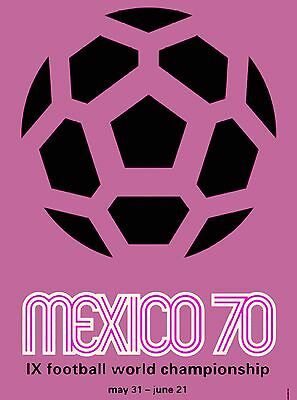 1970 FIFA World Cup Soccer Mexico Mexican Sports Travel Advertisement Poster