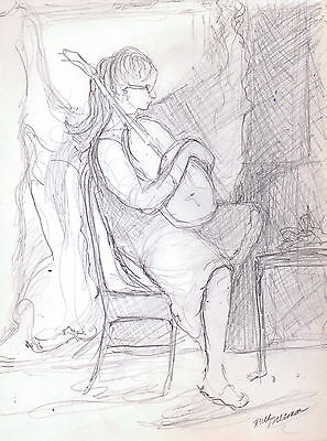 """""""PLAYING MUSIC"""" by Ruth Freeman PENCIL/GRAPHITE 7 3/4"""" X 10 3/4"""""""