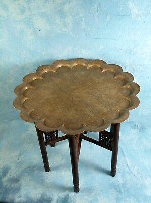 Teak Folding Anglo-Indian Wine Coffee TABLE brass Engrave animals Wedding ()