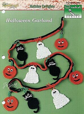 Halloween Garland ~ Pumpkin Cat Ghost, Crochet Collector's pattern leaflet