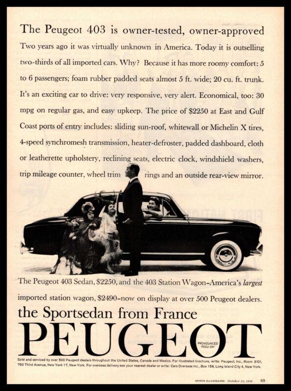 1960 Peugeot 403 6-Passenger Sportsedan Michelin X Tires $2250 Vintage Print Ad
