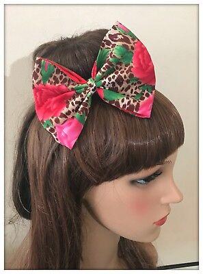 Animal Print Hair Bow - Animal Print Hair Bow Hairband Headband Hair Tie Band Leopard Fabric Roses