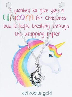 ❤UNICORN GIFT CHRISTMAS NECKLACE WITH CARD❤ NEW ❤  MAGICAL CREATURE ❤ Made in UK