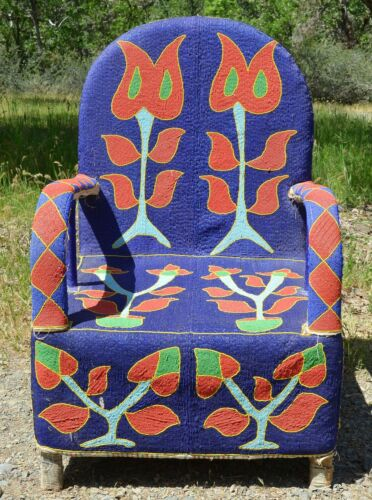 Yoruba Hand Beaded Tribal Throne Armchair West African Furniture Decor, Nigeria