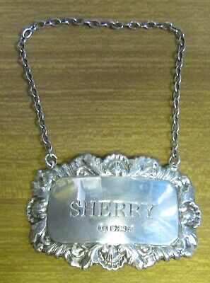 1992 Sheffield UK Office Hallmarked Silver Sherry Bottle or Decanter Label