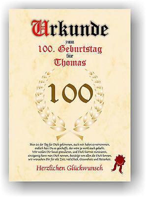 Urkunde zum 100. GEBURTSTAG Geschenkidee Geburtstagsurkunde mit Name Druck Deko