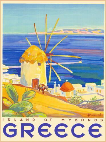 Greece Greek Island of Mykonos Europe Vintage Travel Advertisement Art Poster