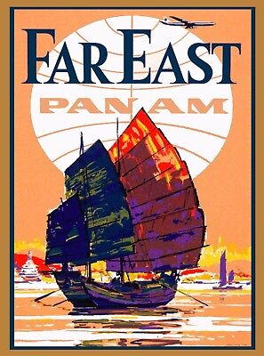Far East China Chinese Asian Asia India Vintage Travel Art Advertisement Poster