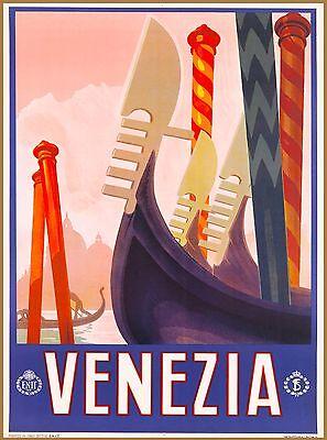 Venezia Gondola Boats Italy Italian Europe Vintage Travel Advertisement Poster