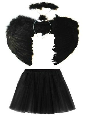 BLACK DARK FALLEN ANGEL WINGS, HALO AND TUTU SET HALLOWEEN Maleficent COSTUME ](Halloween Angel Wings And Halo)