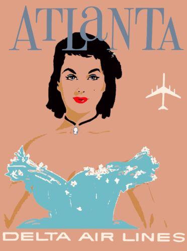 Atlanta Georgia Delta Air Lines  Vintage Travel Advertisement Art Poster 3