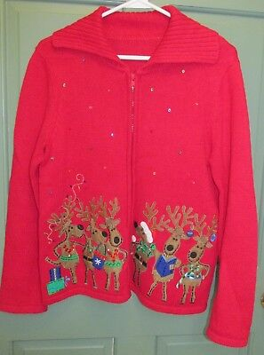 Ugly Reindeer Christmas Sweater Tiara International Women's Full Zip Cardigan for sale  Waldoboro