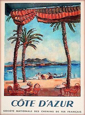 La Cote D' Azur French Riviera France Vintage Travel Wall Decor Art Poster Print