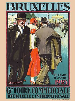 1925 Brussels Belgium Europe European Vintage Travel Art Advertisement Poster