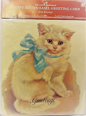 """HUGE Victorian 9"""" EMBOSSED FLUFFY KITTEN EASEL GREETING CARD With Envelope"""