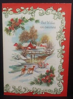 Vintage Quality Crest Used Christmas Card BEST WISHES FOR
