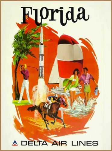 Florida Delta Air lines United States Vintage Travel Advertisement Poster Print