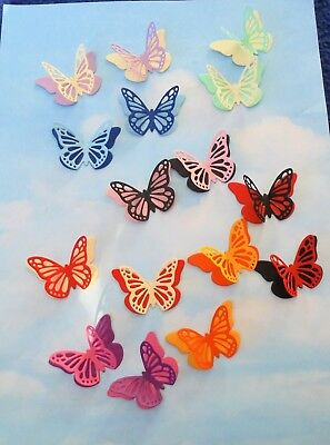 Die Cut 3D Layered Butterfly mixed colours x 16, topper, embellishment