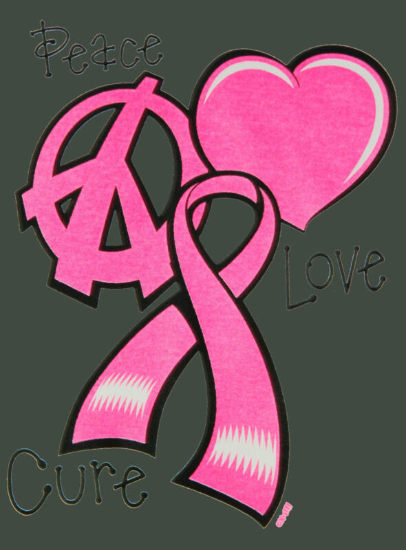 Breast Cancer Awareness PEACE LOVE CURE Ribbon Missy Fit T-Shirt S-3XL NEON tee