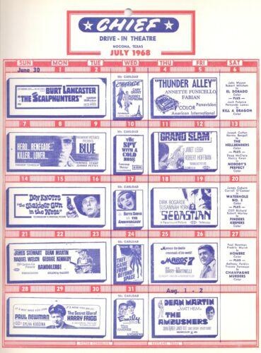 Vintage Drive-in movie flyer Nocona, TX 1968 Paul Newman, Burt Lancaster, Fabian