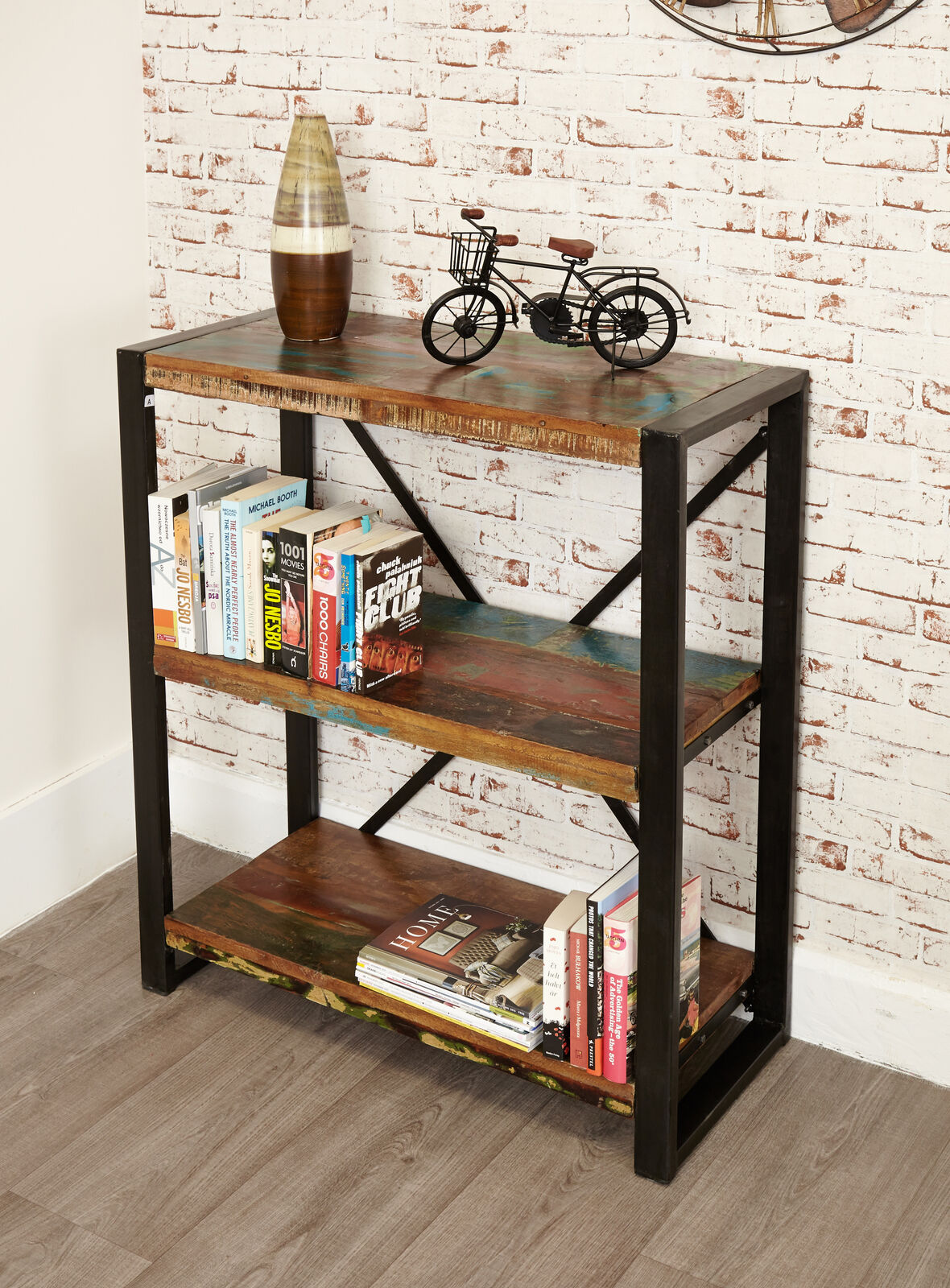 Details About Urban Chic Reclaimed Wood 3 Shelf Bookcase Low Display Unit Steel Frame