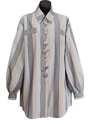 ROMEO GIGLI Vintage Striped Tunic With Carved Buttons Size 44 US 8