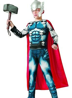 Deluxe Thor Muscle Costume Childs Boys The Avengers Marvel S 4-6 M 8-10 L - Thor Deluxe Costume