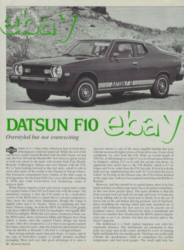 1976 Datsun F10 Fastback Road & Track Magazine Vintage Road Test Article Ad F 10