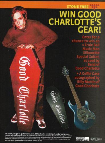 Good Charlotte Benji Ernie Ball Music Man Guitar Coffin Case contest 8 x 11 ad