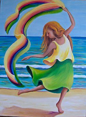 (Printable Wall Art Beach Dancer Green Home Decor Instant Download Invitation)
