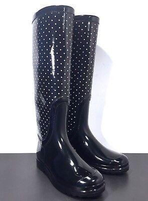 DOLCE & GABBANA Womens Polka Dot Black White Rain Boots Size 9 (MSRP $695)