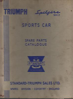TRIUMPH SPITFIRE MK3 1967- ORIGINAL FACTORY PARTS CATALOGUE
