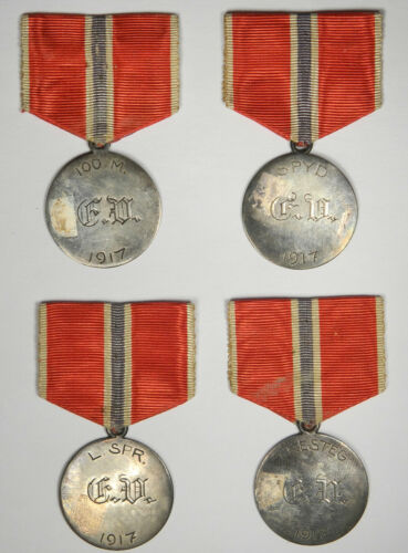 1917 TRACK AND FIELD SILVER MEDALS ~ WORLD WAR ONE PERIOD ~ ONE OF A KIND GROUP!