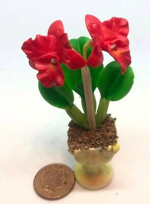 1:6 Escala Grande Rojo Arcilla Orquídea En Cerámica Maceta Muñecas Casa Flor