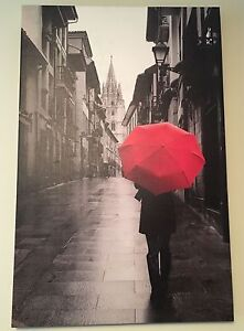 Red umbrella wall art canvas picture