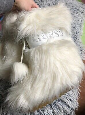 New Guess Girls White Cream Faux Fur Snow Boots Size Uk 13 (Guess Kids Boots)