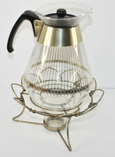 Vintage Mid Century PYREX 8 Cup Glass Coffee Carafe w/ Gold Lines Warming Stand
