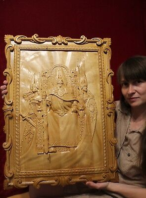 """Rod and Valkyries Wooden carved picture 3D painting art 34"""" size."""