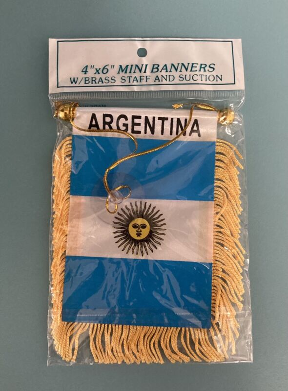 """Argentina Mini Banner Flag 4""""x6"""" With Brass Staff & Suction. Free Shipping!"""