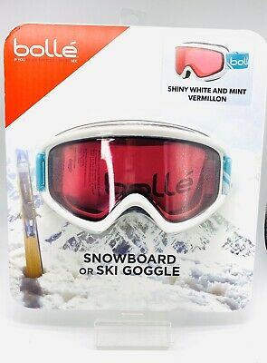 BOLLE Galena Ski Snowboard Goggles White Vermillion Lens Filter Category 2 (Filter Category)