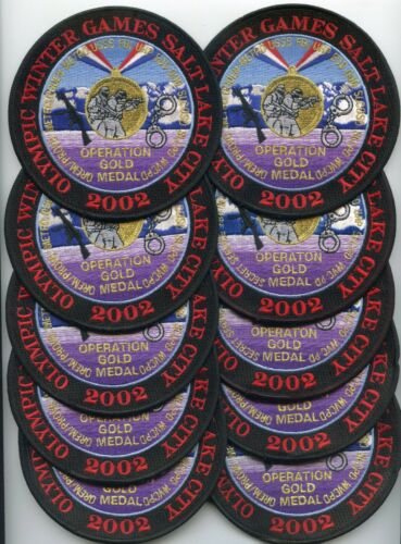 SALT LAKE CITY UTAH 2002 WINTER OLYMPICS colorful 10 Police Patches POLICE PATCH