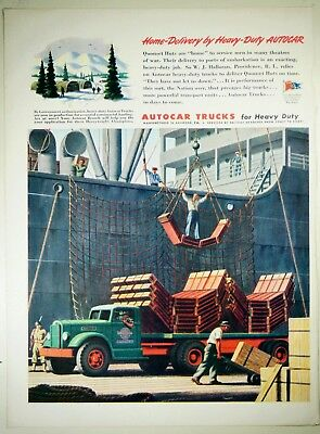 Vintage 1944 AUTOCAR TRUCK COMPANY Large Magazine Print Ad: HOME-DELIVERY